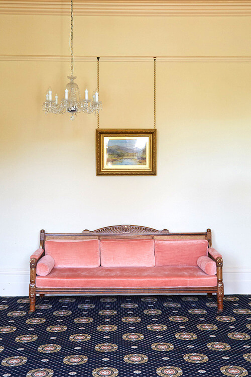 Bergére sofa, chair, restored and re- upholstered for the Mansion House, Clifton, Bristol and bespoke carpet design - i.d.space
