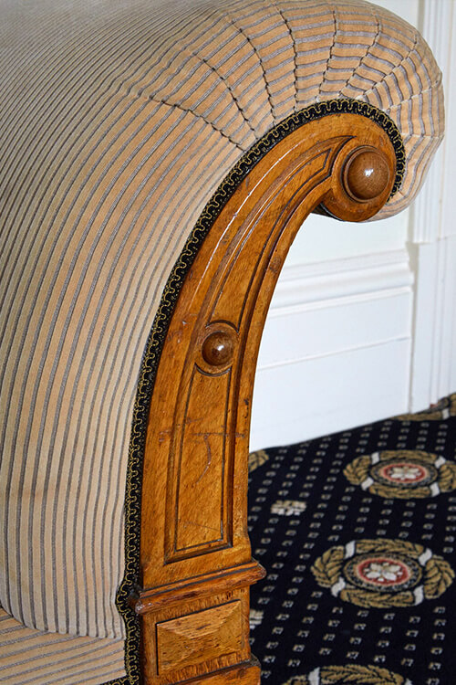 Chaise longue made bespoke for the building circa 1875, restored and re- upholstered. Mansion House, Clifton Bristol - i.d.space