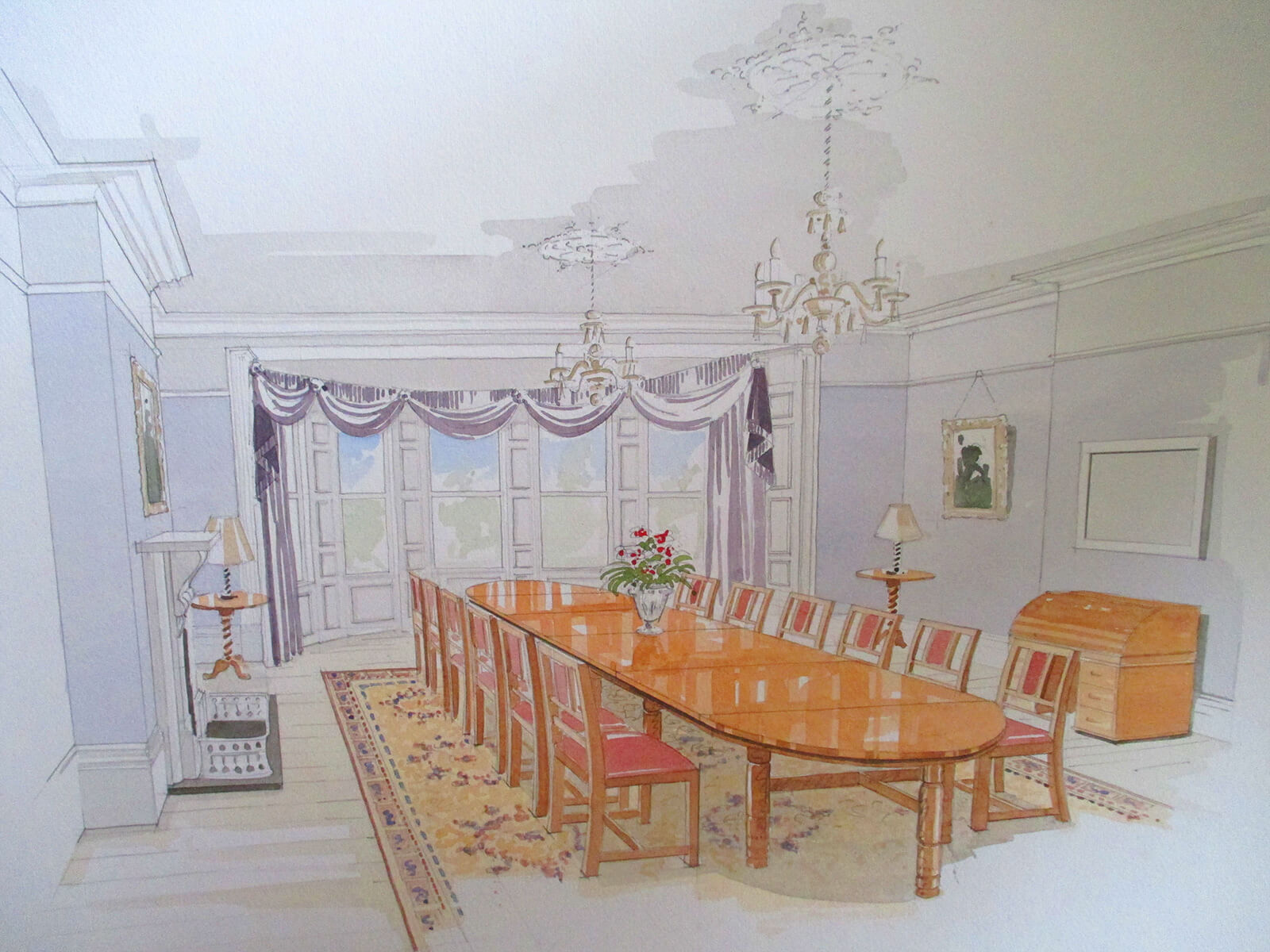 Watercolour created to demonstrate interior of conference suite, The Mansion House, Clifton, Bristol. - i.d.space
