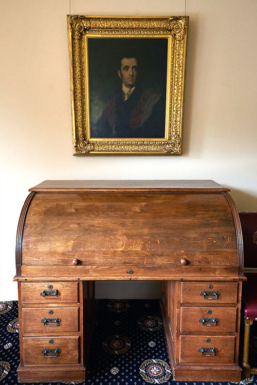 Davenport roll top desk, Mansion House, Clifton. Bristol restored to retain patina and appearance - i.d.space