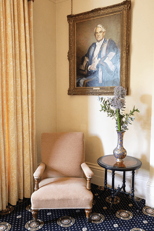 Bergére chair, restored and re- upholstered for the Mansion House, Clifton, Bristol next to replacement chenille damask curtains. - i.d.space